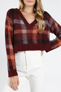 Honey Punch Burgundy Plaid Sweater - Product List Image