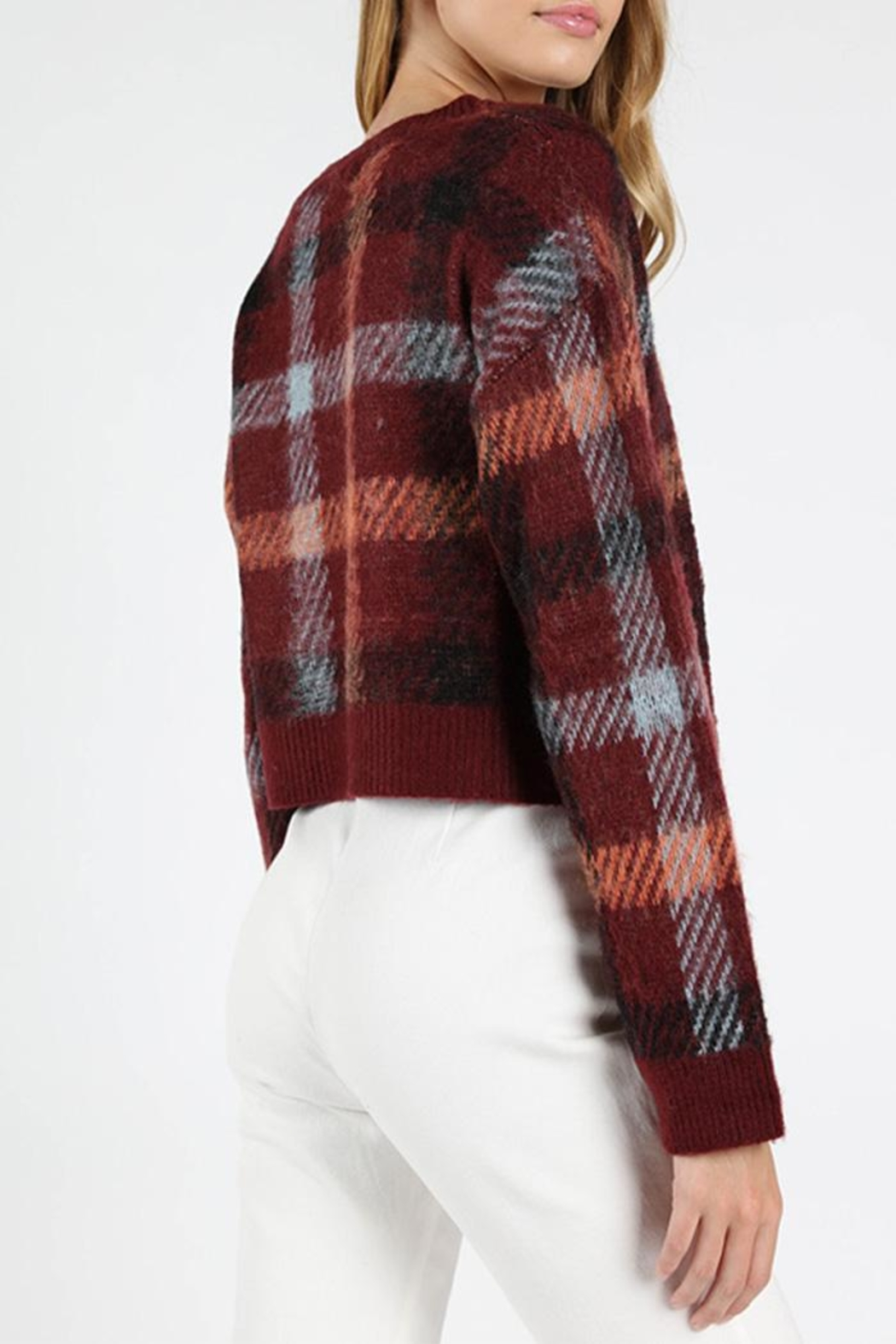 Honey Punch Burgundy Plaid Sweater - Front Full Image