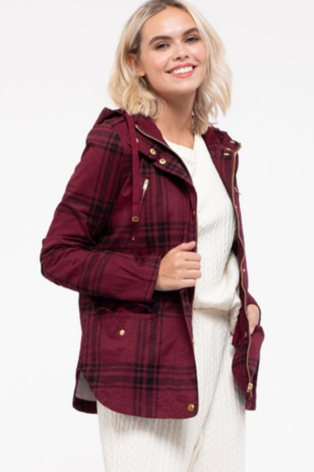 Mine and E&M Burgundy Plaid Zip-up Jacket - Front Cropped Image