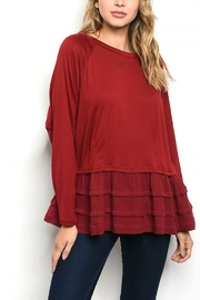 Lyn -Maree's Burgundy Ruffle Bottom Top - Front cropped