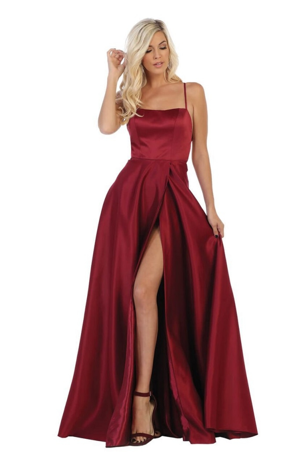 May Queen  Burgundy Satin A-Line Formal Long Dress - Main Image