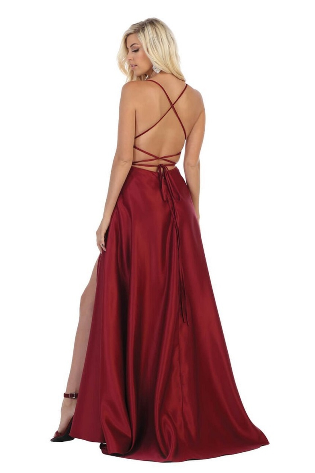 May Queen  Burgundy Satin A-Line Formal Long Dress - Front Full Image
