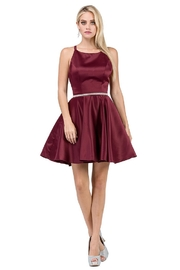 DANCING QUEEN Burgundy Satin A-Line Short Formal Dress - Product Mini Image