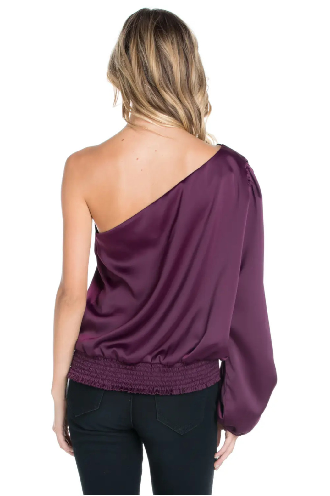 Sweet Rain Burgundy Satin Blouse - Side Cropped Image