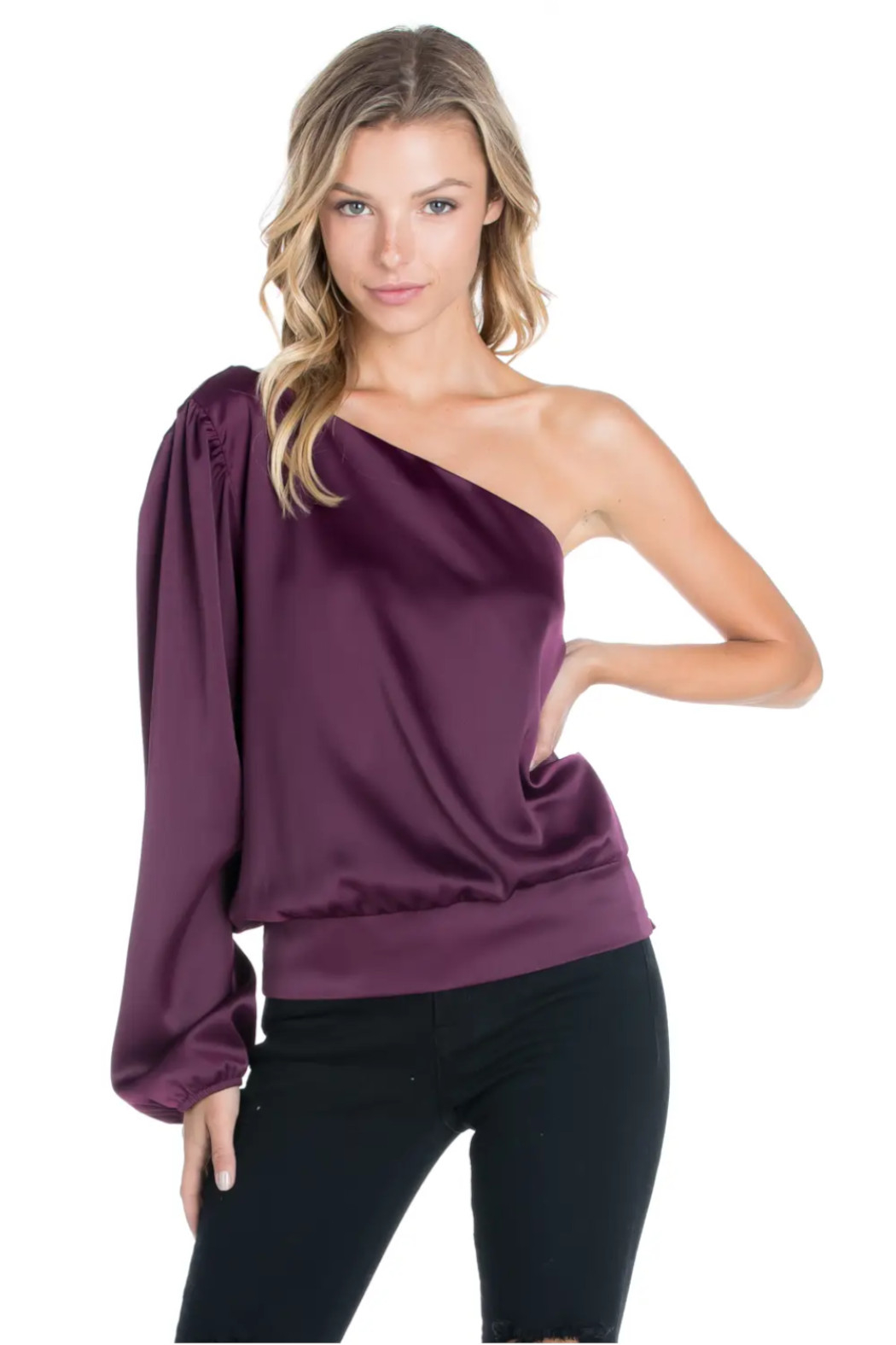 Sweet Rain Burgundy Satin Blouse - Front Full Image