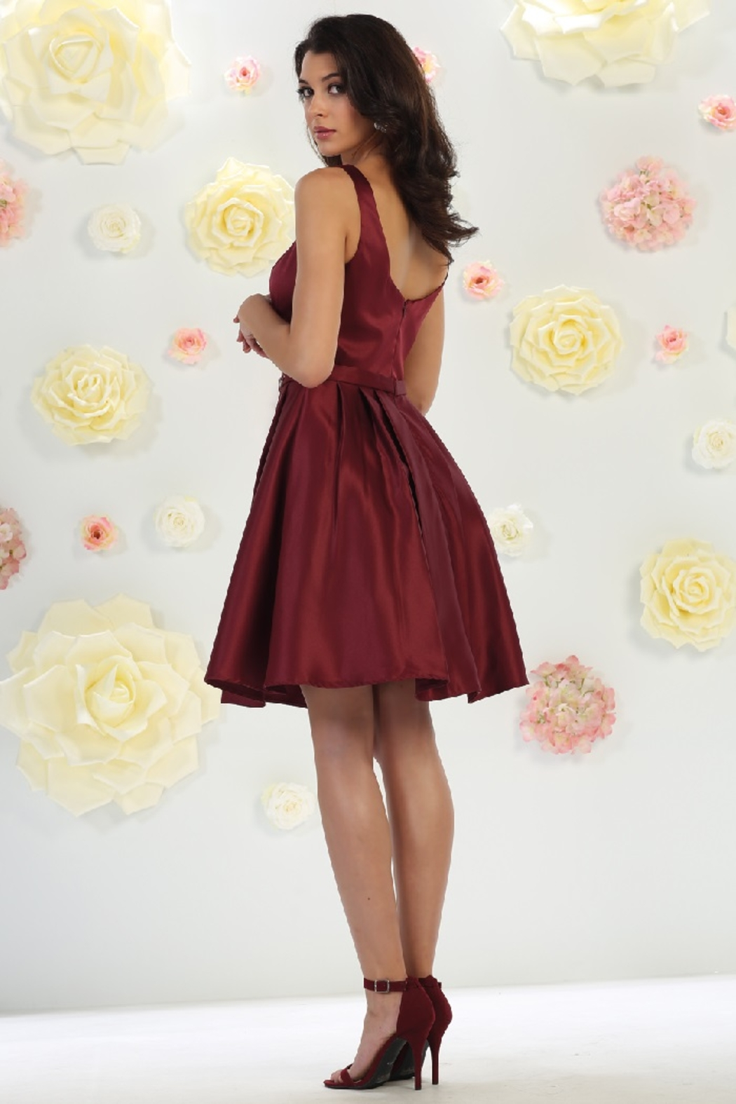 May Queen  Burgundy Satin Formal Short Dress - Front Full Image