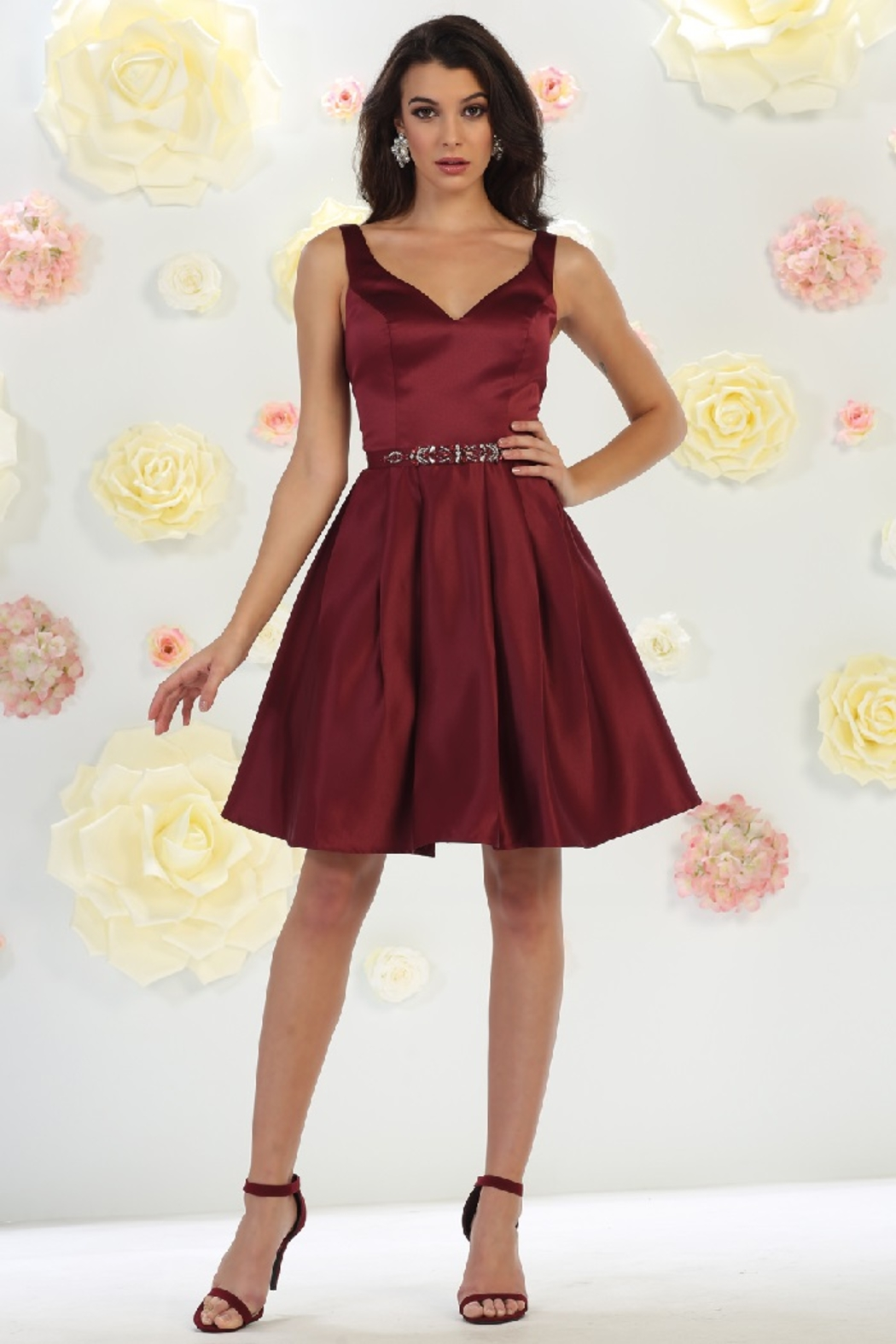 May Queen  Burgundy Satin Formal Short Dress - Main Image