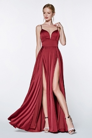 Cinderella Divine Burgundy Satin Long Formal Dress - Product Mini Image
