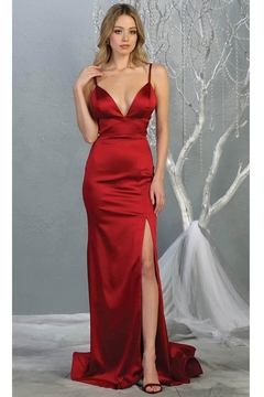 May Queen  Burgundy Satin Sheath Long Formal Dress - Product List Image
