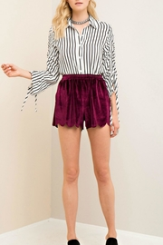 Entro Burgundy Scallop Shorts - Product Mini Image