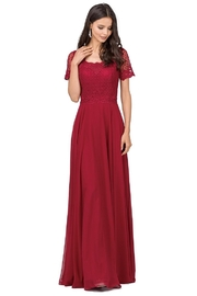 DANCING QUEEN Burgundy Short Sleeve Lace Long Formal Dress - Product Mini Image