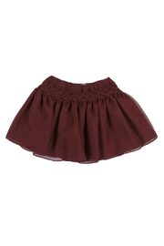 Malvi & Co. Burgundy Smocked Skirt. - Front cropped