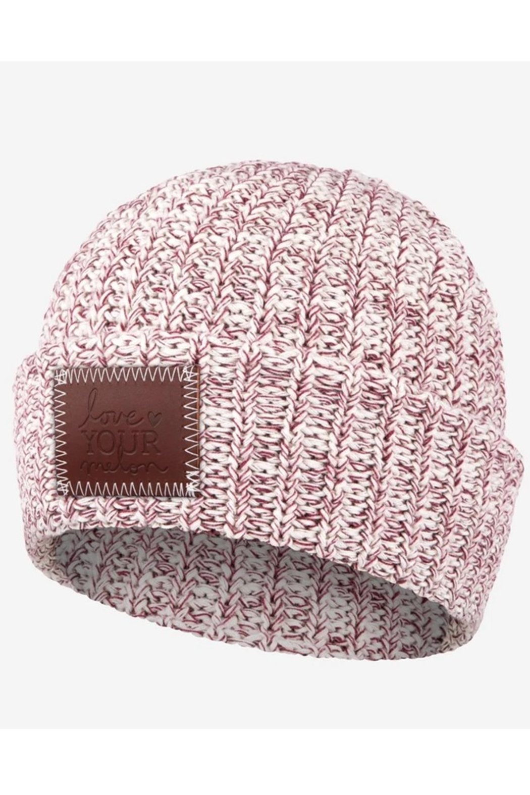 Love Your Melon Burgundy Speckled Cuffed Beanie - Main Image