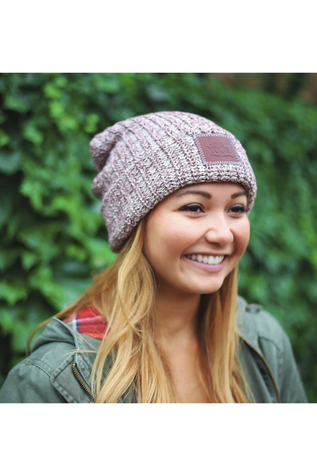 Love Your Melon Burgundy Speckled Cuffed Beanie - Front Full Image