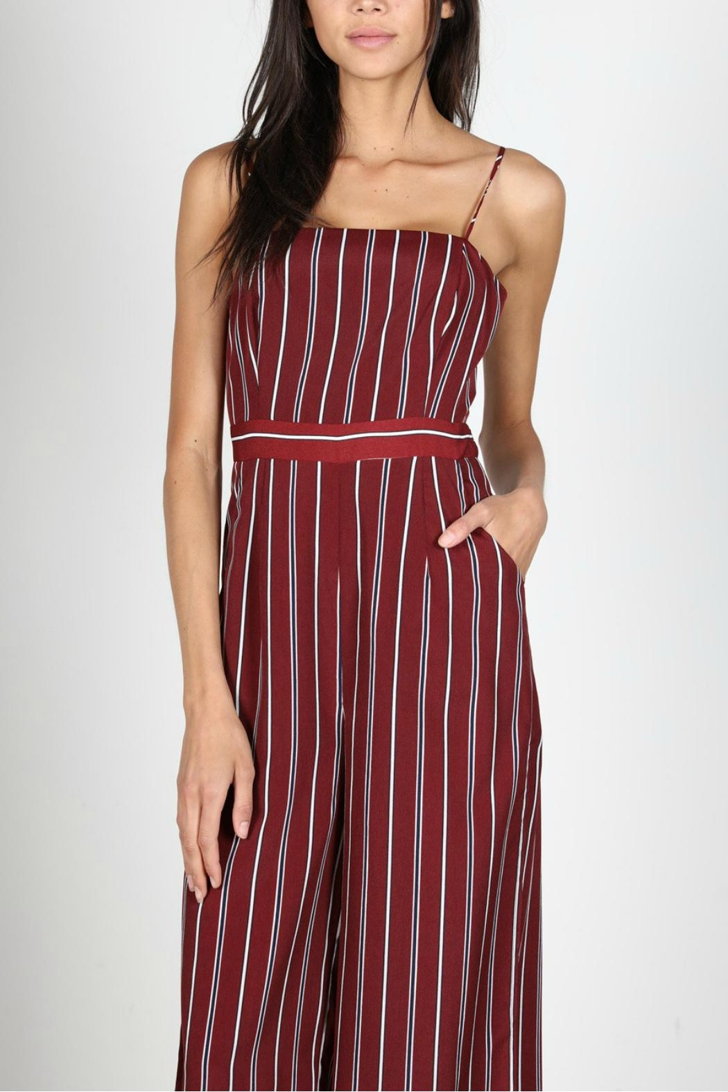 52adeb0e465 essue Burgundy Striped Jumpsuit from California by YUNI — Shoptiques