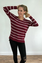 debut Burgundy Striped Pullover - Product Mini Image