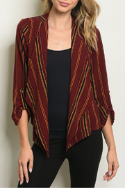 Miley & Molly Burgundy Stripes Blazer - Product Mini Image