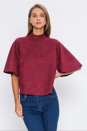 Jealous Tomato Burgundy Suede Top - Product Mini Image