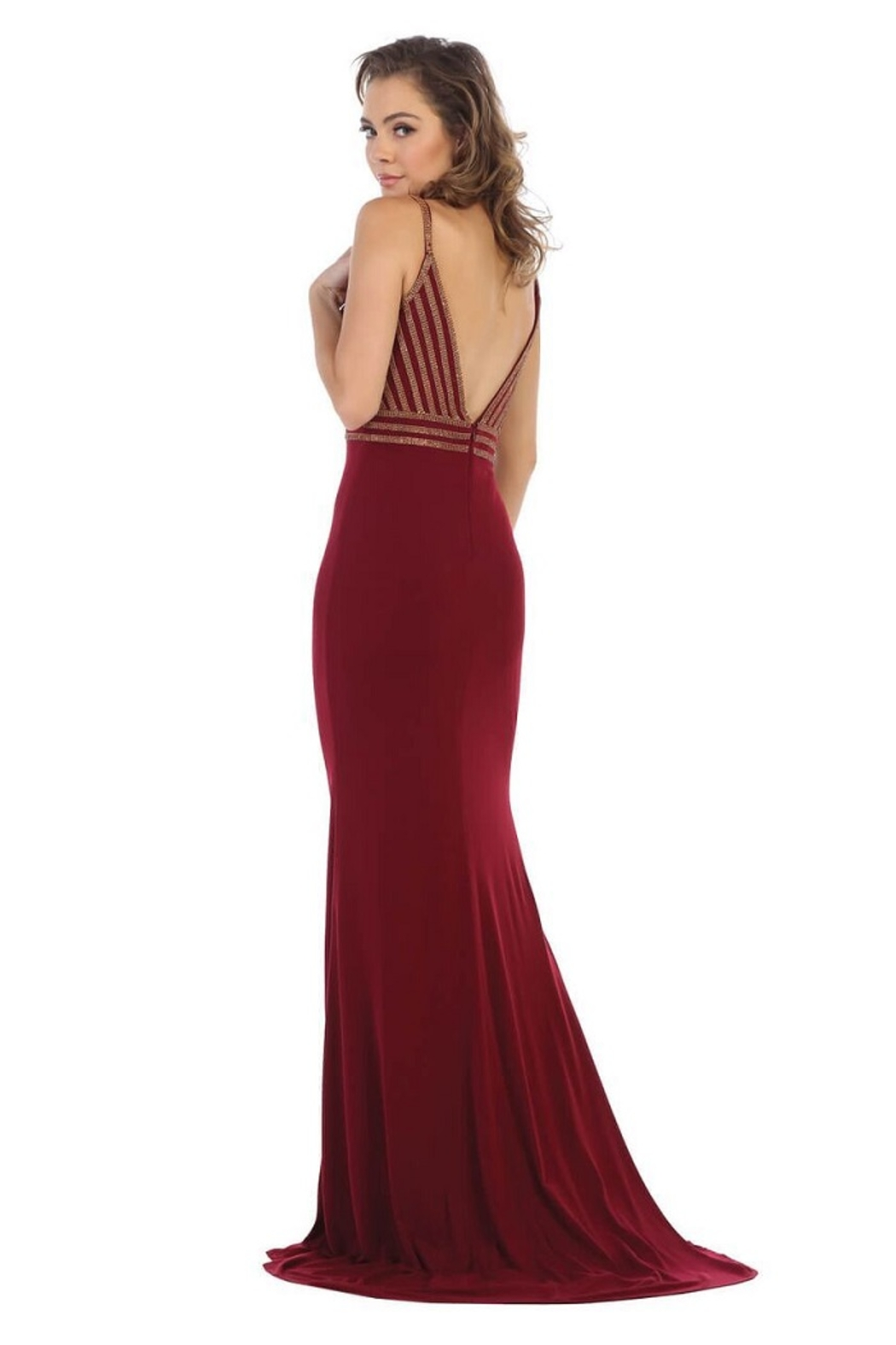 May Queen  Burgundy Sweetheart Beaded Formal Long Dress - Front Full Image