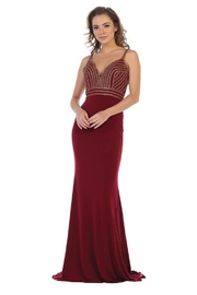 May Queen  Burgundy Sweetheart Beaded Formal Long Dress - Front cropped