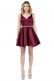 DANCING QUEEN Burgundy Sweetheart Satin Short Formal Gown - Product Mini Image