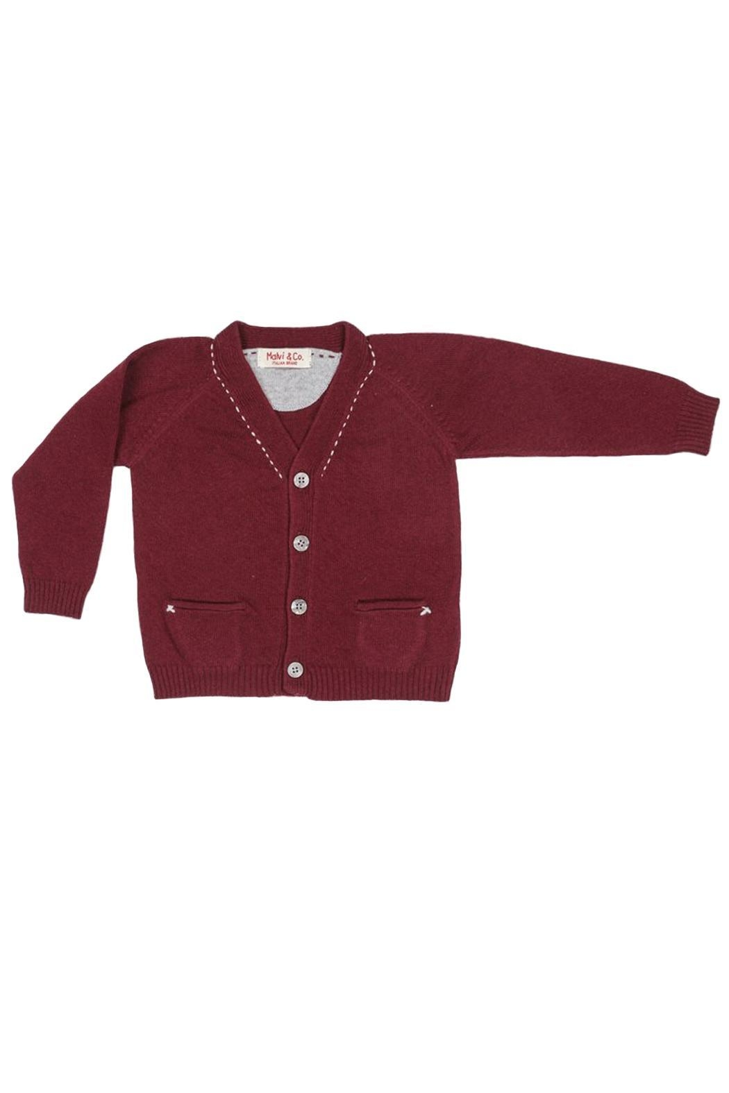 Malvi & Co. Burgundy Topstitch Cardigan. - Main Image