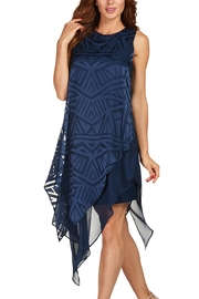 Frank Lyman Burn Out Layered Navy Dress - Product Mini Image