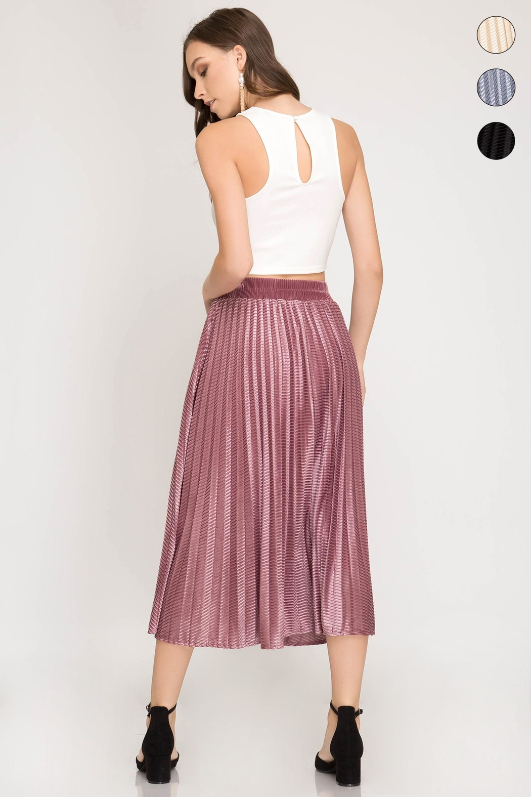 She + Sky Burn Out Skirt - Side Cropped Image