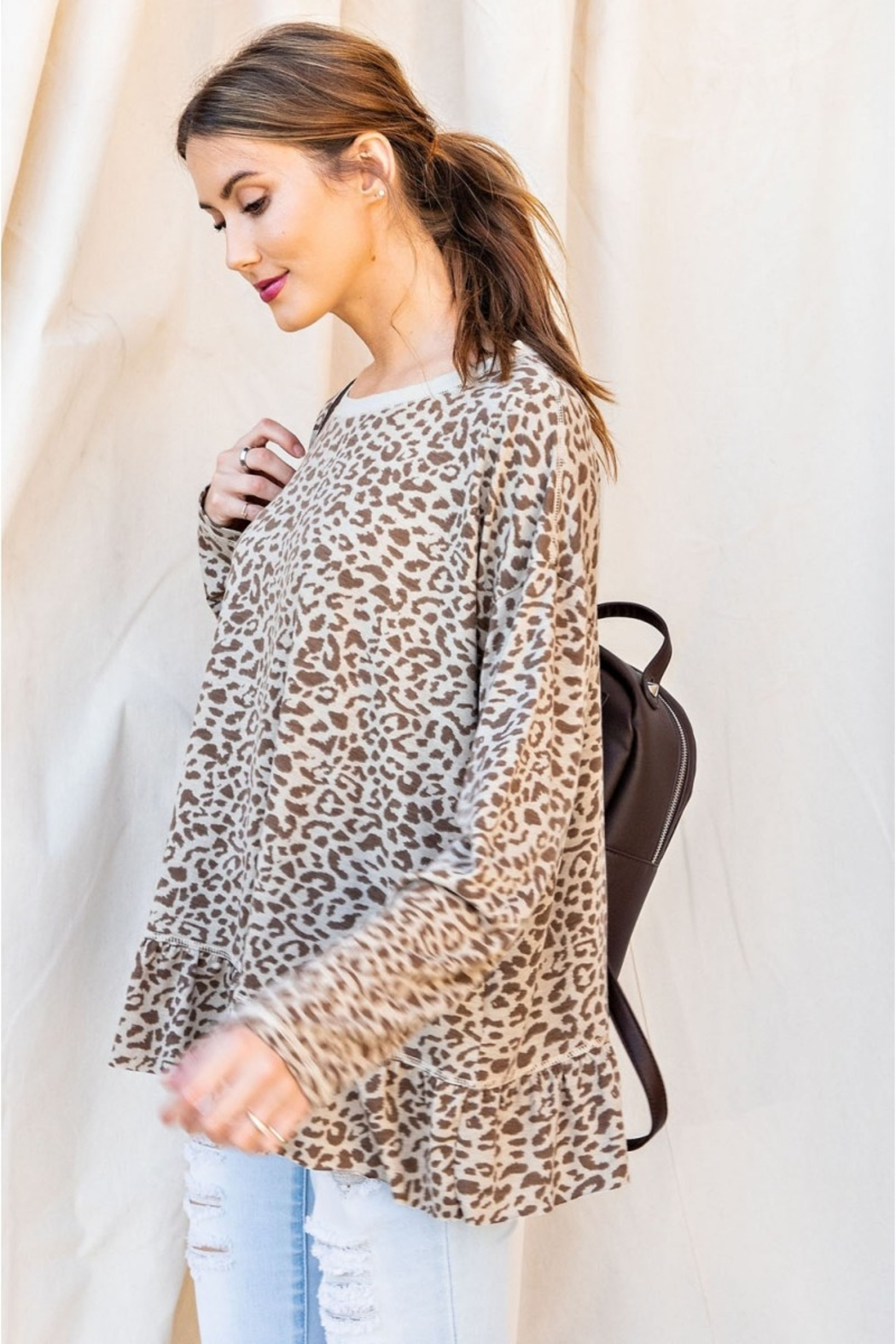easel Burnout Leopard Tunic Ruffle Top - Side Cropped Image