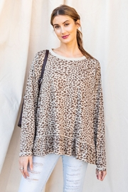 easel Burnout Leopard Tunic Ruffle Top - Front cropped
