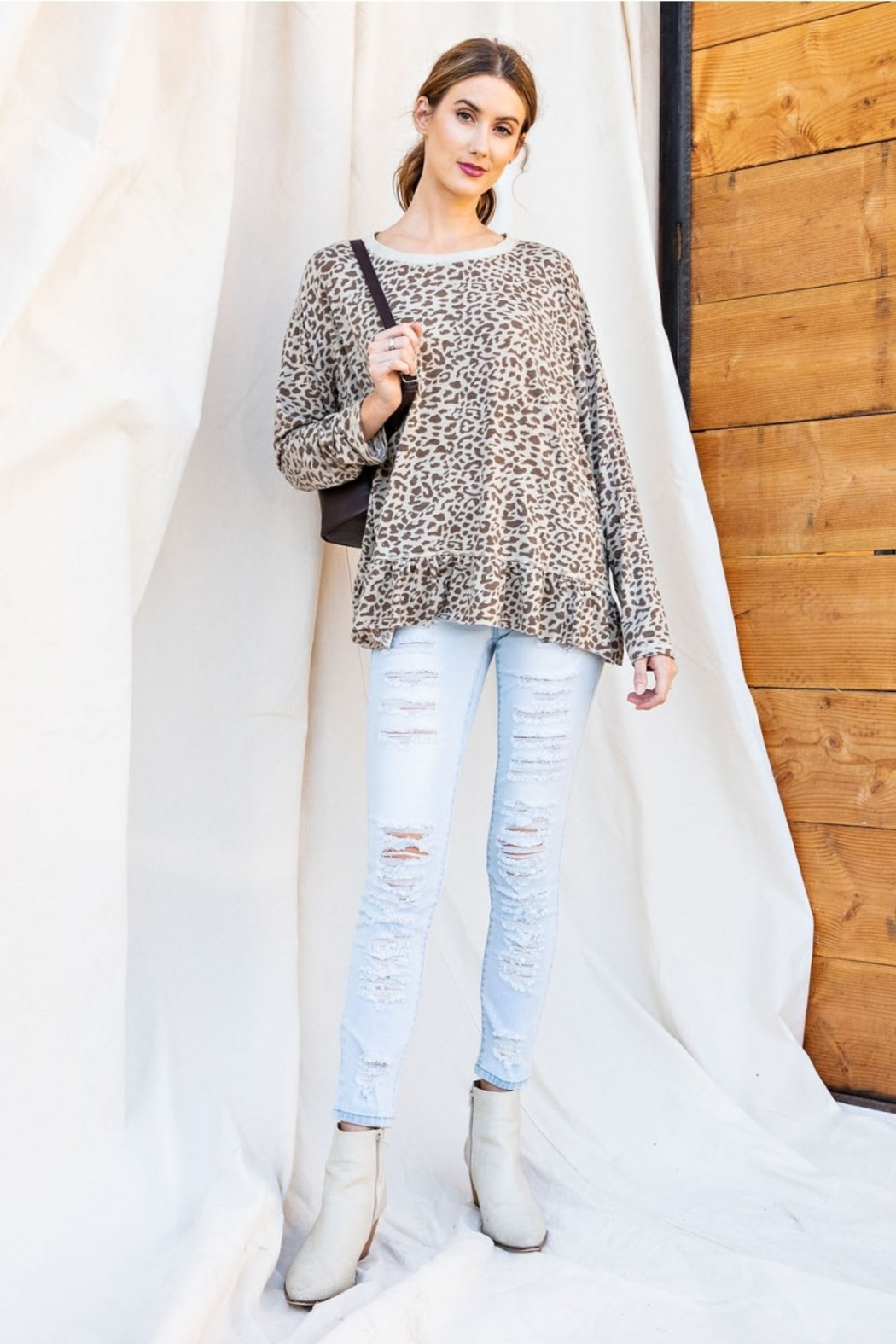 easel Burnout Leopard Tunic Ruffle Top - Front Full Image