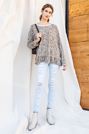 easel Burnout Leopard Tunic Ruffle Top - Front full body
