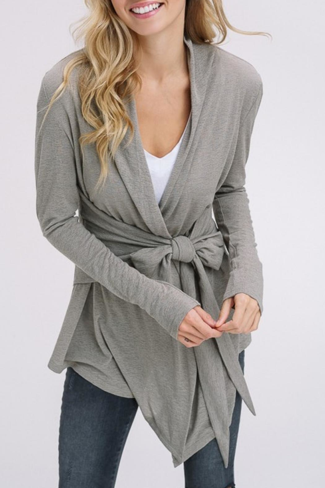 Listicle Burnout Olive Cardigan - Front Full Image