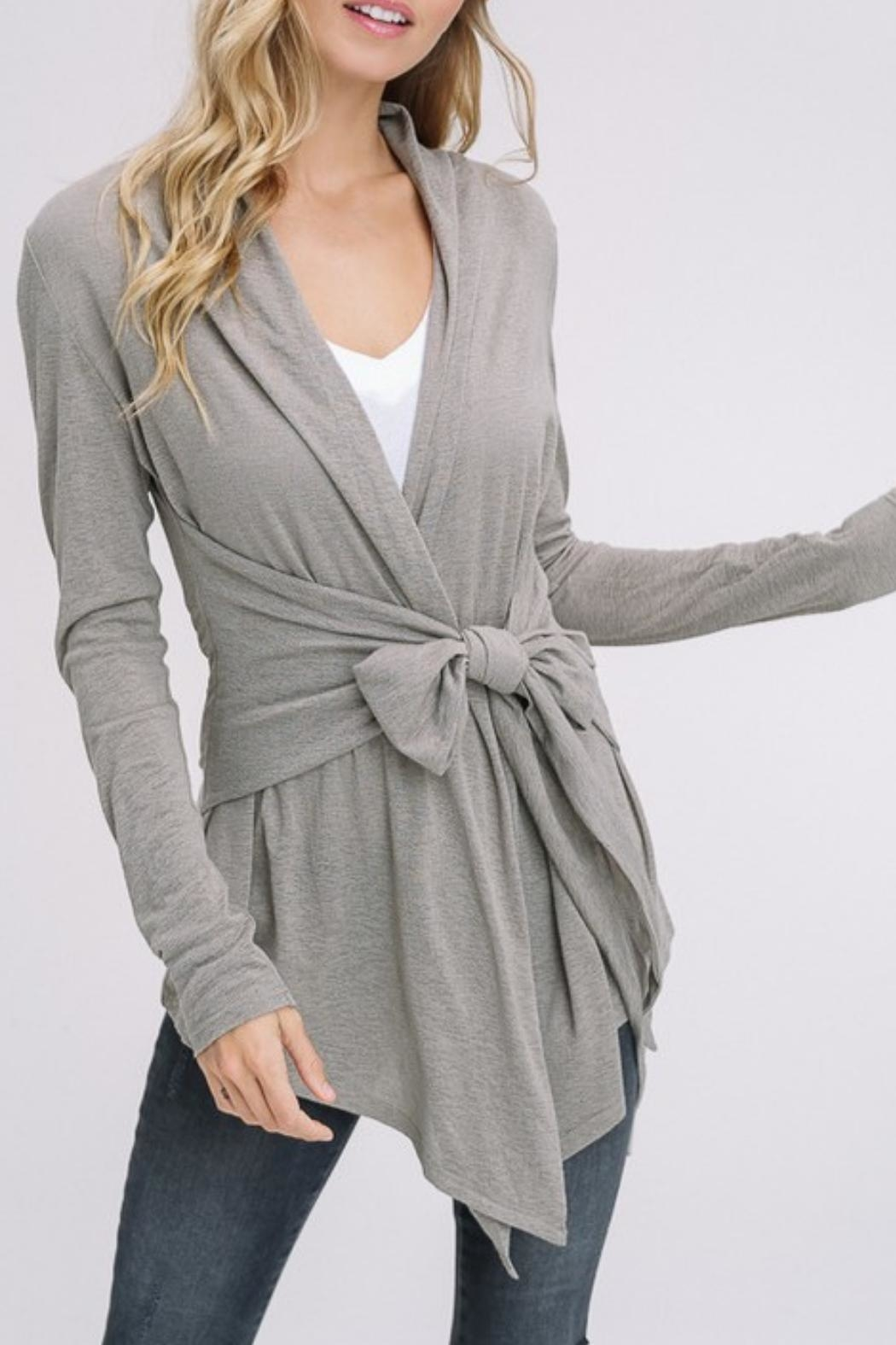 Listicle Burnout Olive Cardigan - Front Cropped Image