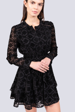 Allison Collection  BURNOUT VELVET RUFFLE DRESS - Alternate List Image