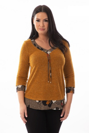 Bali Corp. Burnt Orange 3/4 Sleeve Bali Tunic Top - Product Mini Image