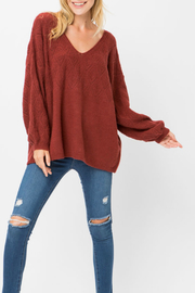 Cozy Casual Burshed lantern sleeve sweater - Product Mini Image