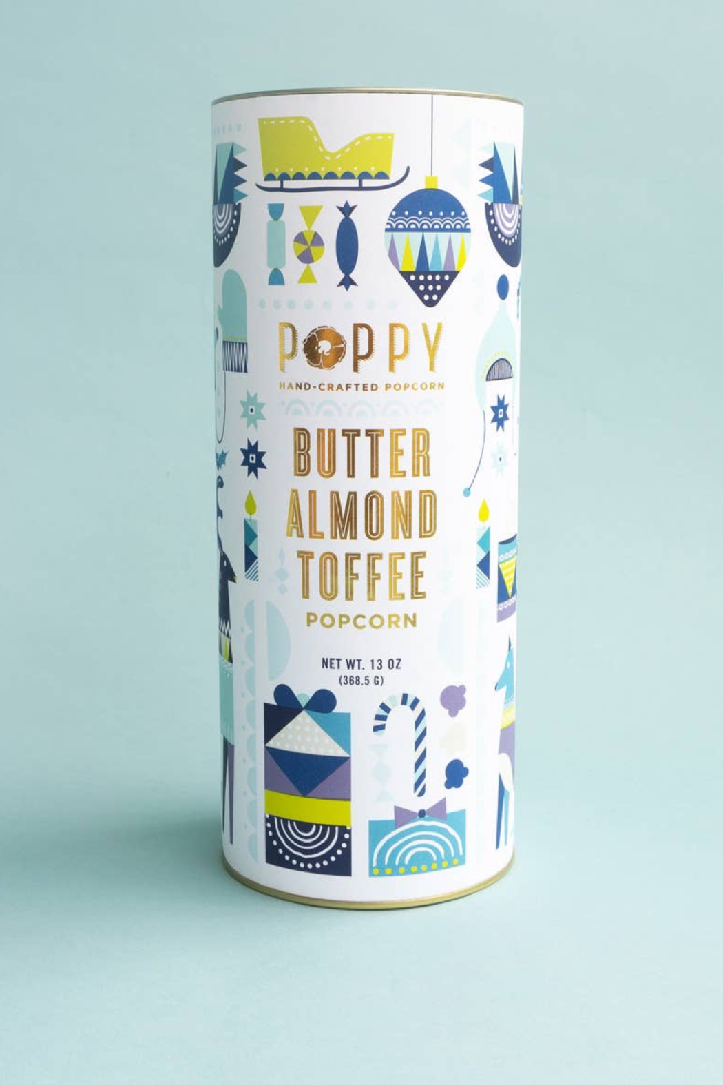 Poppy Handcrafted Popcorn Butter Almond Toffee Popcorn Cylinder - Main Image