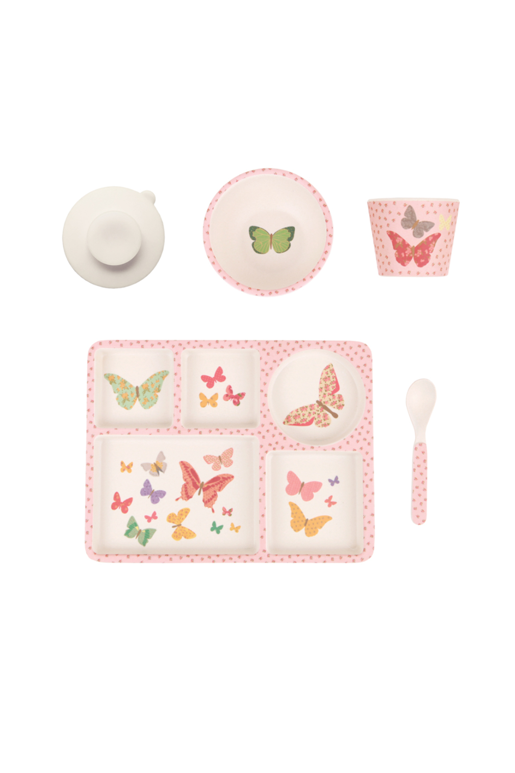 Love Mae Butterflies Bamboo Divided Plate Set - Main Image