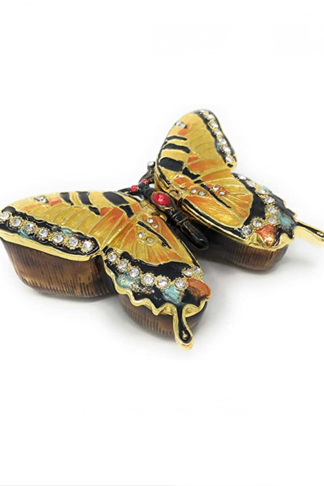 Kubla Craft Butterfly Bejeweled Enamel Box - Front Full Image
