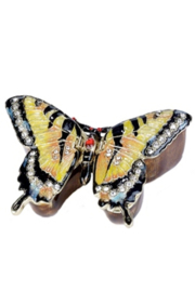 Kubla Craft Butterfly Bejeweled Enamel Box - Front cropped