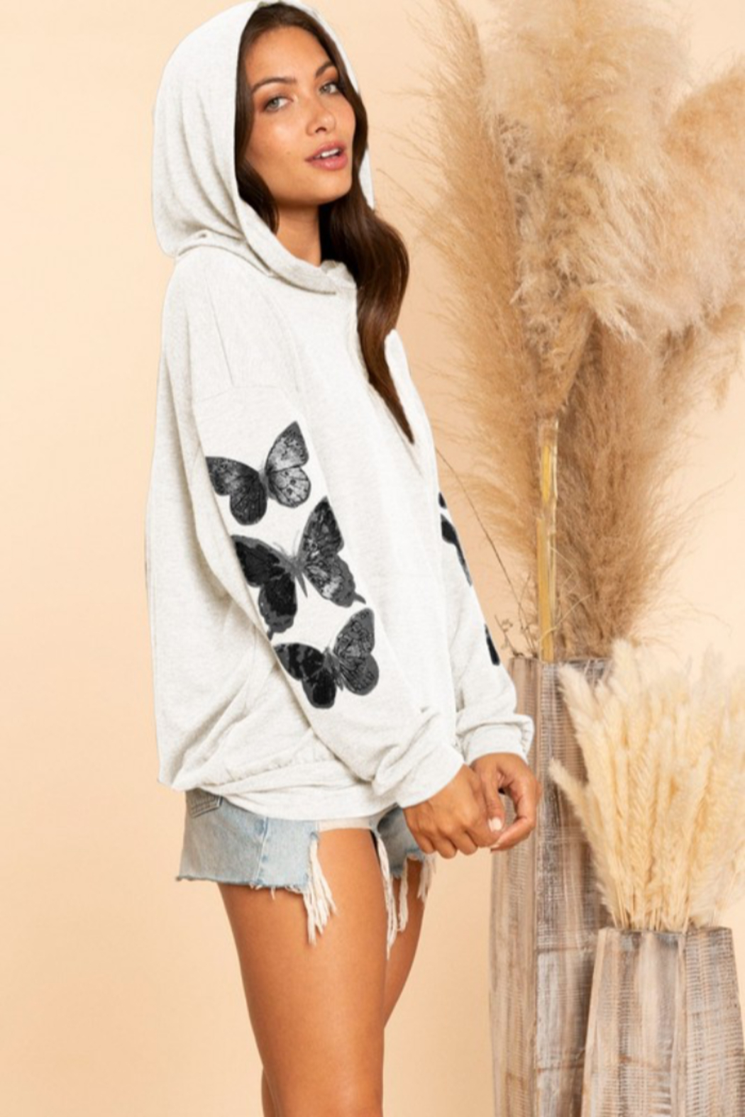 Blue Buttercup Butterfly French Terry Hoodie - Front Full Image