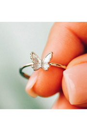 Puravida Butterfly In Flight Ring-Rose Gold - Front cropped