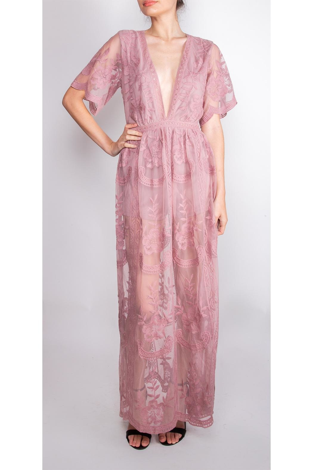 Wild Honey Butterfly Lace Maxi-Dress - Main Image