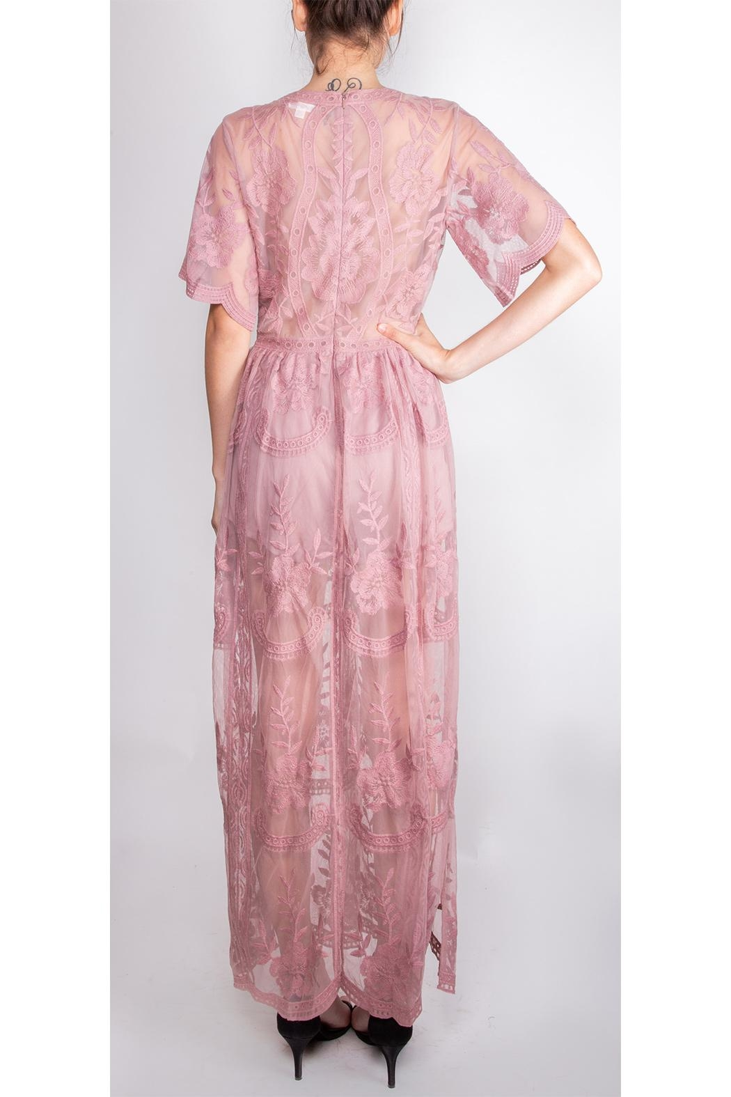 Wild Honey Butterfly Lace Maxi-Dress - Back Cropped Image
