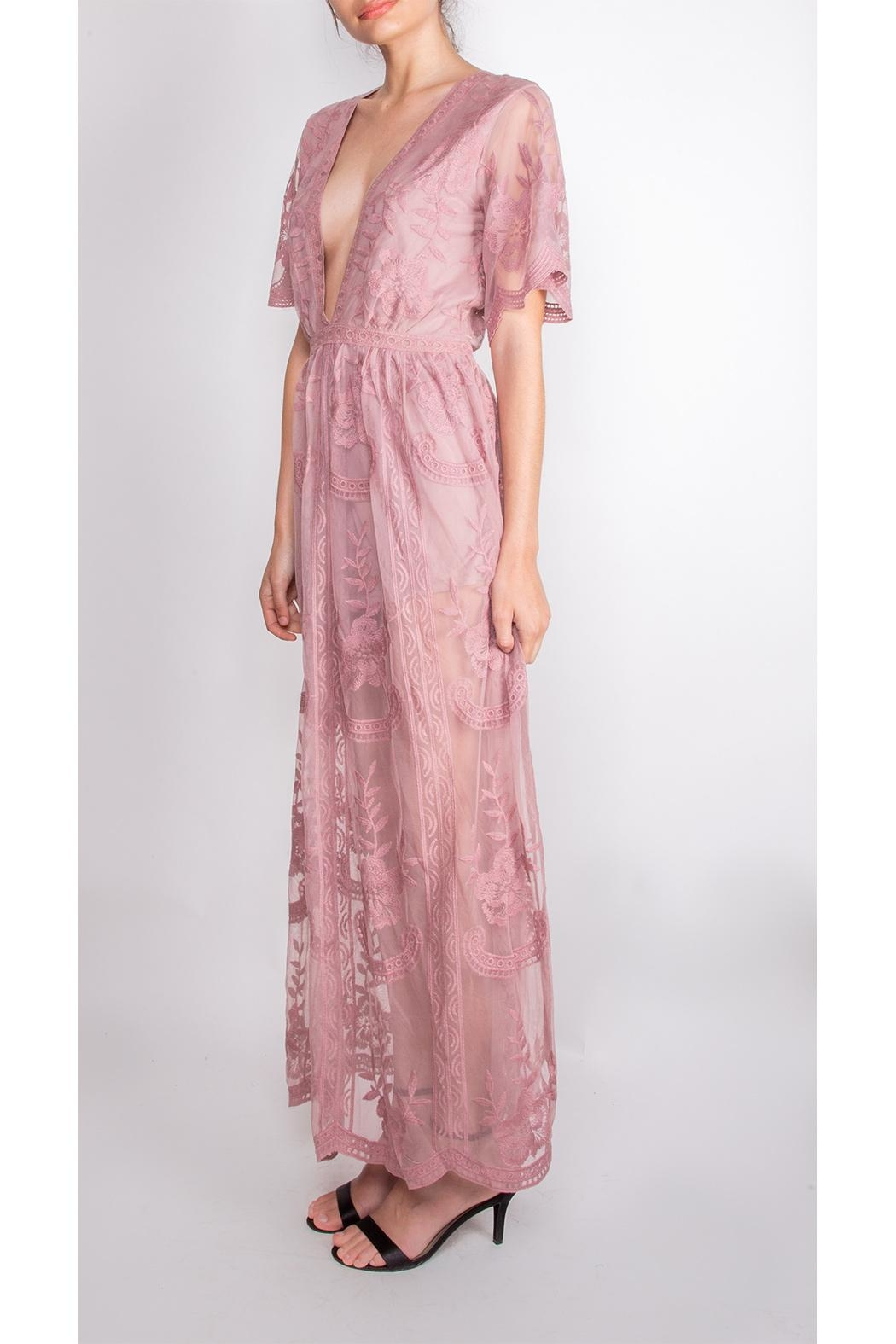 Wild Honey Butterfly Lace Maxi-Dress - Front Full Image