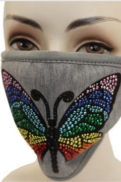Cap Zone BUTTERFLY MULTI STONE APPLIQUE ON GRAY FACE MASK - Product List Image