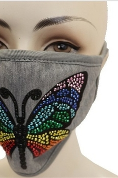 Cap Zone BUTTERFLY MULTI STONE APPLIQUE ON GRAY FACE MASK - Alternate List Image