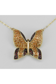 Margolin & Co Butterfly Necklace, Garnet and Citrine Necklace, 14K Yellow Gold Necklace, Gold Butterfly Pendant, Yellow Gold Chain, Yellow Butterfly - Product Mini Image