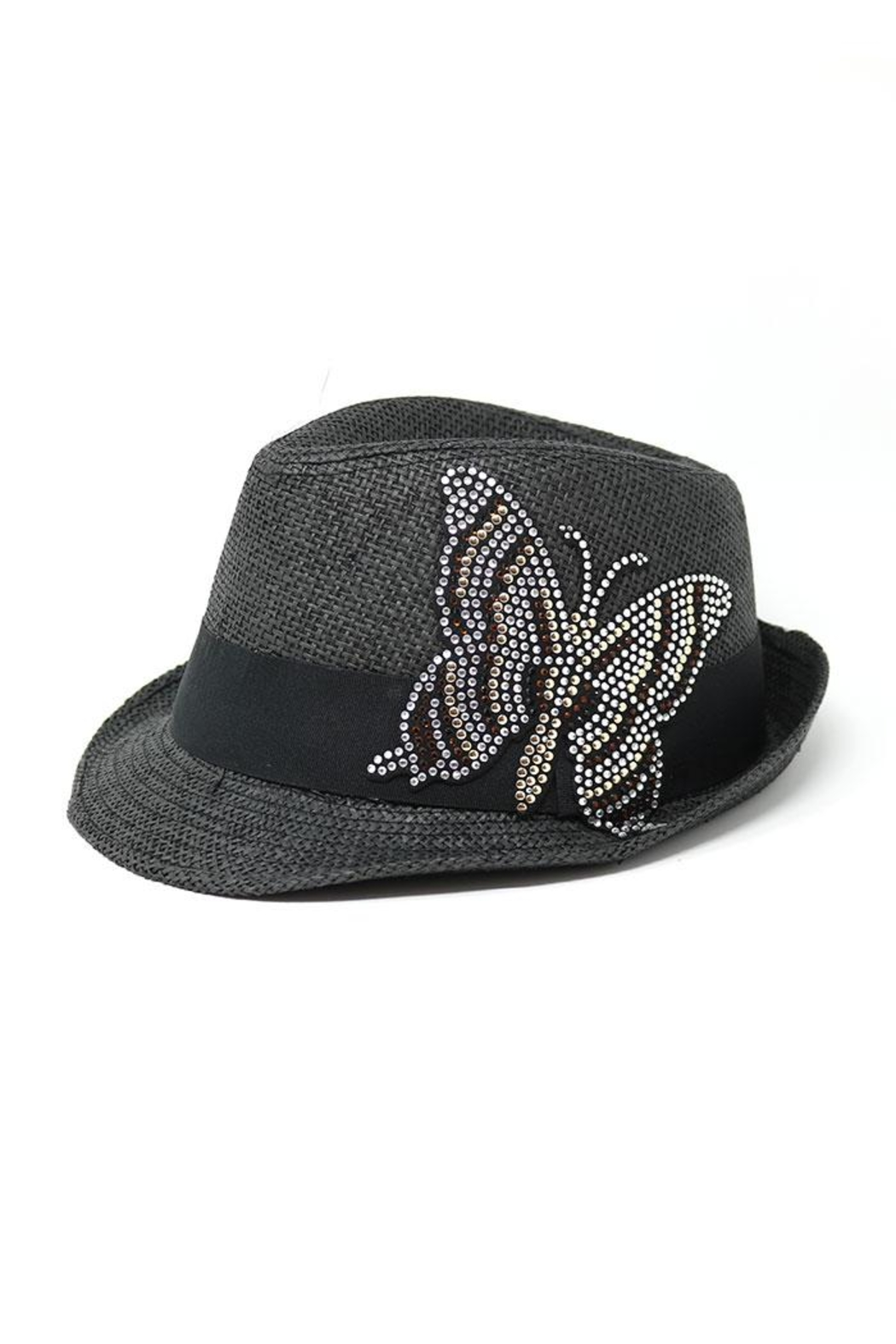 Nadya's Closet Butterfly Patch Fedora - Front Cropped Image